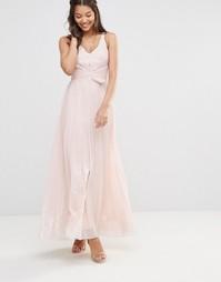 Плиссированное платье макси с отделкой металлик TFNC
