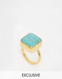Кольцо с квадратной печаткой из бирюзы Ottoman Hands - Золотой