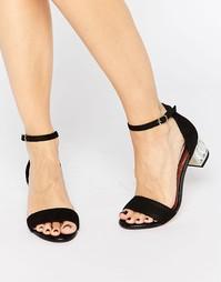 Черные сандалии на среднем каблуке с камнями Dune Marcee - Черный