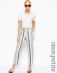 Прямые брюки в полоску натурального цвета ASOS PETITE - Черно-белый