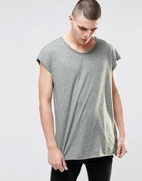Фактурная oversize‑футболка без рукавов с необработанным краем ASOS