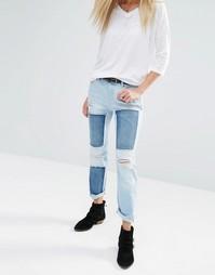 Потертые прямые джинсы до щиколотки в стиле пэтчворк Noisy May