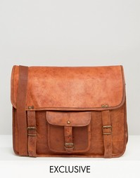 Светло-коричневая кожаная сумка через плечо с карманом Reclaimed Vinta