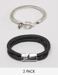 2 браслета из цепочки и плетеного шнурка Icon Brand - Мульти
