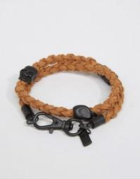 Коричневый плетеный браслет Icon Brand - Коричневый