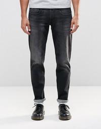 Черные джинсы слим Replay Anbass - Выбеленный черный