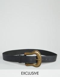 Ремень с пряжкой в стиле вестерн Retro Luxe London - Черный