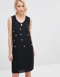 Двухслойное платье с декоративной отделкой Lavand - Черный
