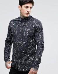 Черная рубашка с маслянистым принтом Dr Denim Jonathan