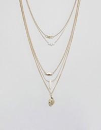 Броское ожерелье в несколько рядов с камнями и бусинами Ashiana