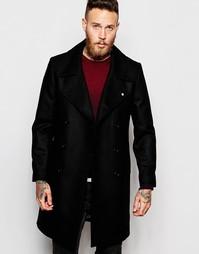 Шерстяное двубортное пальто Noose & Monkey - Черный