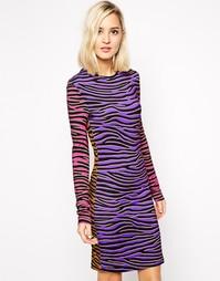 Платье мини с узором в зебру House of Holland - Мульти