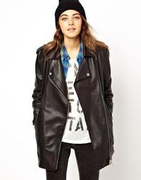 Удлиненная кожаная куртка в мальчишеском стиле ASOS Premium - Черный
