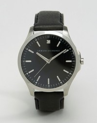 Часы с черным кожаным ремешком Armani Exchange AX2182 - Черный