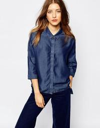Рубашка из ткани шамбре со скрытой планкой WAVEN - Темный синий