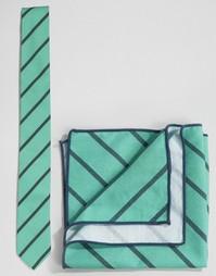 Галстук и платок для пиджака в полоску Minimum - Зеленый