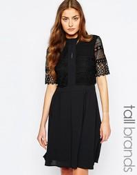 Платье с кружевным верхним слоем Y.A.S Tall - Черный