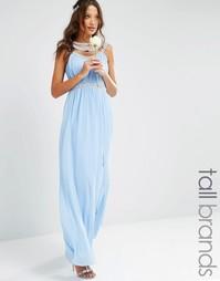 Платье макси с отделкой TFNC Tall Wedding - Кашемировый синий