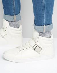Белые высокие кроссовки с ремешком ASOS - Белый