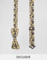 Коричневый галстук-бабочка с цветочным принтом Reclaimed Vintage