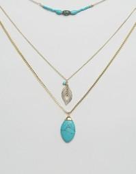 Ожерелье в несколько рядов с камнем Ashiana