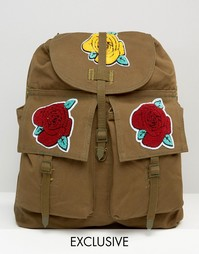Рюкзак с нашивками в виде роз Reclaimed Vintage - Зеленый