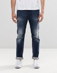 Темные прямые джинсы с выбеленным эффектом Diesel Buster 853R