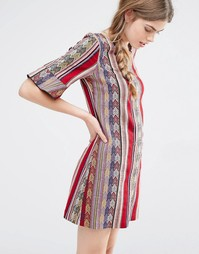 Цельнокройное платье в полоску Anna Sui - Малиновый многоцветный
