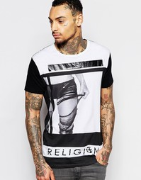 Футболка с круглым вырезом и принтом ноги Religion - Черный