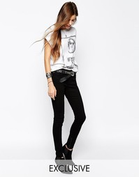 Узкие джинсы средней посадки с молниями Northmore Denim - Черный