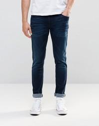 Супероблегающие темно-синие джинсы Nudie Jeans - Navy stitch