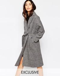 Серое oversize-пальто в клетку без застежки Helene Berman - Серый