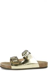 Шлепанцы из металлизированной кожи с двумя пряжками Atlanta Mocassin