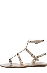 Сандалии из металлизированной кожи с шипами Valentino