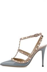 Лаковые открытые туфли с металлическими шипами Valentino