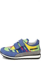 Замшевые кроссовки color block с застежками велькро Dsquared2