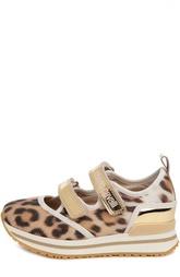 Текстильные кроссовки с принтом на широкой подошве Roberto Cavalli