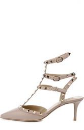 Кожаные открытые туфли с металлическими шипами Valentino