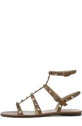 Кожаные сандалии с двумя пряжками и шипами Valentino