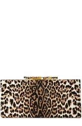 Меховой клатч с леопардовым принтом Jimmy Choo