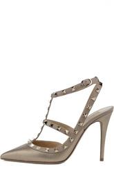 Открытые туфли из металлизированной кожи с шипами Valentino
