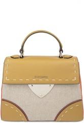 Кожаная сумка color block с текстильной вставкой Coccinelle