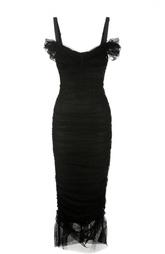 Платье-футляр на бретельках с фактурной отделкой Dolce & Gabbana