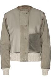 Кожаная куртка с замшевыми рукавами и манжетами Bottega Veneta