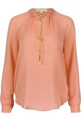 Шелковая блуза прямого кроя с декоративной отделкой Michael Michael Kors
