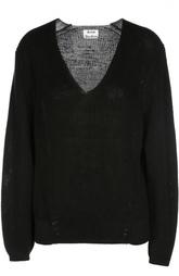 Льняной пуловер крупной вязки с V-образным вырезом Acne Studios