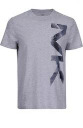 Хлопковая футболка с вертикальным принтом Michael Kors