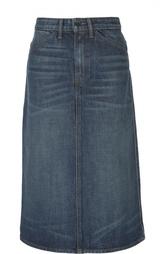 Джинсовая юбка А-силуэта с потертостями Helmut Lang