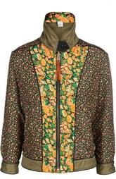 Шелковая куртка с высоким воротником и контрастным принтом Coach
