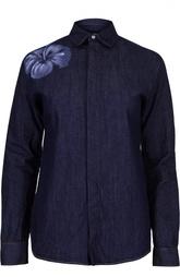 Джинсовая блуза с вышивкой и контрастной отстрочкой Dsquared2
